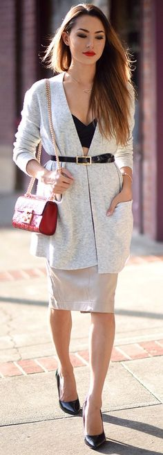 #fall #trending #street #outfits | Light Neutrals + Pop Of Black