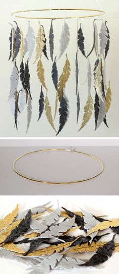 Gray & Gold Feather DIY Crib Mobile | Click for 25 DIY Nursery Decor Ideas | Toddler Boy Room Decor Ideas