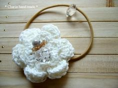 * Charin Hand made *コットンお花のヘアーゴム/ホワイト