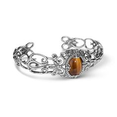 Carolyn Pollack Jewelry | Indian Summer Sterling Filigree Tiger Eye Cuff Bracelet