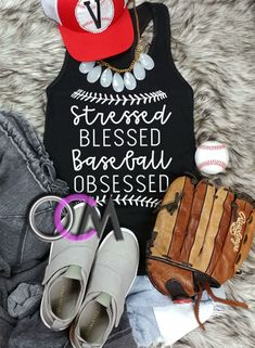 Stressed Blessed Baseball Obsessed Tank Top, Blessed Baseball Mom Tank, Blessed Baseball Shirt, Baseball Mom Tank- Racerback - One Crafty Momma Iowa Hawkeye Baseball, Minnesota Twins Baseball, Cleveland Indians Baseball, Baseball Helmet, Baseball Mom Shirts, Baseball Uniforms, Baseball Socks, Baseball Tips, Baseball Stuff
