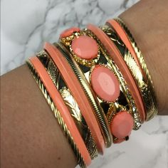 Coral and Gold Tone Bangles Bracelets NEW NO TRADES Discounts with bundles only Lil+Lo Jewelry Bracelets