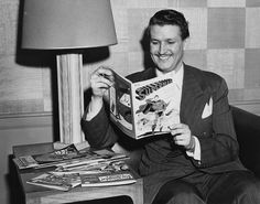 """Bud voice of Clark Kent/Superman on radio and animated film in the It was Collyer who's voice first uttered the phrase""""This looks like a job for Superman! Here he is reading an adventure of Superman. Comic Book Publishers, Comic Book Artists, Comic Books, Adventures Of Superman, Superman Family, Superman Comic, Collage, Marvel Comic Character, Comic Panels"""