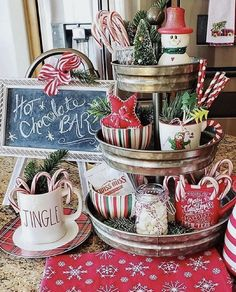 My kitchen vignettes are done and this little hot cocoa bar is a Rae Dunn Christmas Gingerbread Christmas Decor, Indoor Christmas Decorations, Table Decorations, Christmas Hot Chocolate, Hot Chocolate Bars, Kitchen Vignettes, Hot Cocoa Bar, Christmas Kitchen, Christmas Farm