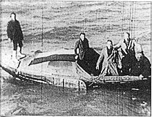 Engelandvaarders op 24 februari 1944 met Hein Fuchter, John Osten, Edzard Moddemeijer, Flip Winckel en Henk Baxmeier.