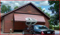 Bi-Fold Door as a Garage Door with Wood Paneling door and awning in one Unique Garage Doors, Custom Garage Doors, Industrial Door, Garage Remodel, Garage Door Opener, Store Fronts, Door Design, Wood Paneling, Barn