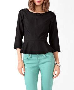 Bow Detail Peplum Top | FOREVER 21 - 2030187954