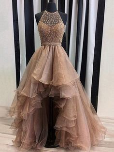 Different A-line Halter Organza Tulle Asymmetrical Beading High Low Prom Dresses #Milly020102962