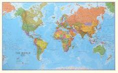 Wereldkaart Maps International huge geplastificeerd Wereldkaarten Stanley