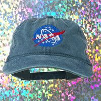 NASA Denim Baseball Hat : Vintage, 90s, Grunge, Vintage Hat, Dad Hat, Grunge Fashion, 90s Accessories, Acid Washed Hat