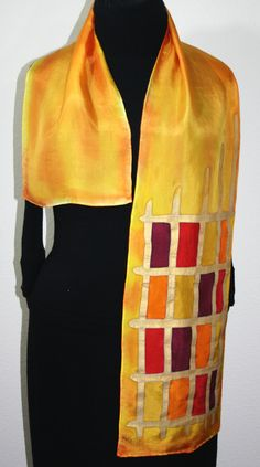 Yellow Hand Painted Silk Scarf Golden Sun. Size 11x60. Silk Scarf in Yellow and Orange. Made in Colorado. 100% silk. MADE TO ORDER.. $44.00, via Etsy.