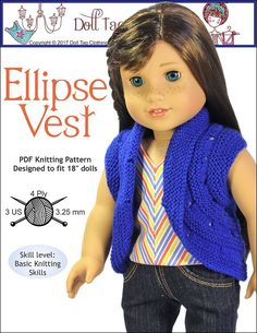 Ellipse Vest. A knitting pattern from Doll Tag Clothing for your 18 inch dolls such as American Girl.