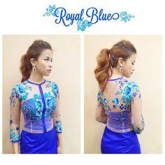 Royal Blue Modern Myanmar Dress