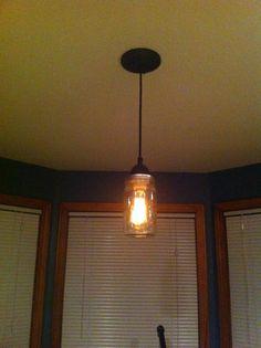 Pot Rack Mason Jar Light Fixture Rustic Farmhouse Inspired