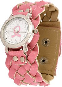 Pink Ribbon Braided Watch at The Breast Cancer Site. Purchase funds mammograms for women in need.