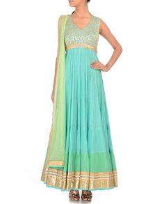 Mint Blue Anarkali Suit with Floral Pattern- Chamee & Palak