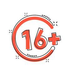 Sixteen plus icon in comic style 16 cartoon on vector Meet Girls Online, Girl Online, Video Downloader App, Line Video, Red Sign, Film Reels, Comic Styles, Word Porn, Lululemon Logo