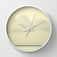 White Wall Wall Clock #photography #white #clouds #sky #minimal #soceity6 #art #ocean #sea #nature #wall #clock #time #decor #home #office #bedroom #hallway #kitchen #serene #relaxing #peaceful #tranquil