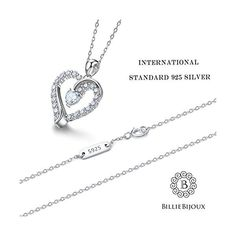 """9f0b955952afe3 925 Sterling Silver heart necklace - Billie Bijoux """"You Are the Only One""""  Love Platinum Plated Diamond pendant 18"""