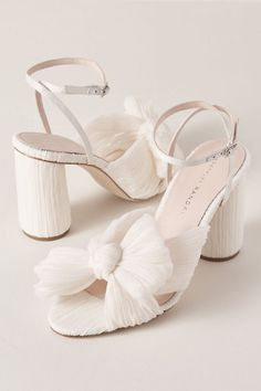 Loeffler Randall Camellia Heels Pearl in Bride Cute Shoes, Me Too Shoes, Types Of Gowns, Make Up Braut, Bridal Skirts, Bridal Heels, Wedding Dress Trends, Bridal Fashion Week, Bride Shoes