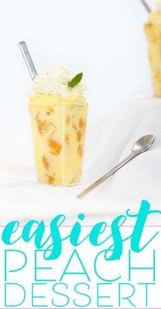 Easy Peach Dessert with 3 Ingredients Peach Dessert with only 3 easy ingredients. Made in minutes, ready in an hour. Oh yum. Pineapple Desserts, Banana Dessert Recipes, Quick Dessert Recipes, Sweet Recipes, Kid Recipes, Dessert Ideas, Cool Whip Desserts, Easy Desserts, Healthy Desserts