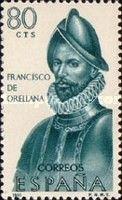 """ESPAÑA. Sello: Forjadores de América. Año de emisión: 1965. Descripción: """"FRANCISCO DE ORELLANA"""" (1550 - 1581). Valor del sello"""" 80 céntimos."""