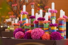 Flower Power candle lighting - could be done with colored sugar or even kool ade mix!