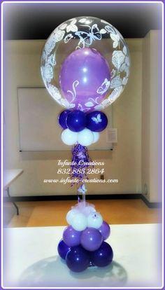Butterflies & Roses Bubble Centerpiece  #Qualatex #Bubbles #Balloons #Butterflies #Roses