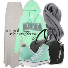 A fashion look from January 2015 featuring Victoria's Secret PINK hoodies, Jane Norman skirts and Converse sneakers. Browse and shop related looks.