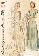 Anyone need a wedding gown? :) 1940's Simplicity 1973 Princess Wedding Gown with Train Pattern
