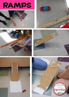 Science in STEM class! Use the scientific method to experiment with different ramp angles and then build the best version of the ramp you can!