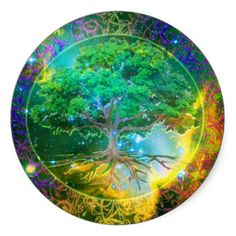 roots  inter twining  black and green  anarchy | Tree of Life Wellness Round Sticker
