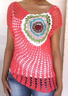 I am not so much for crochet garments but this crochet top is smashing beautiful!