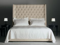 Double bed with tufted headboard TURMAN by Meridiani
