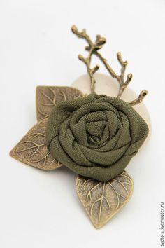 """Купить Брошь""""Теплая осень"""" - цветок, брошь цветок, брошь, текстильная брошь, ягодная брошь"""