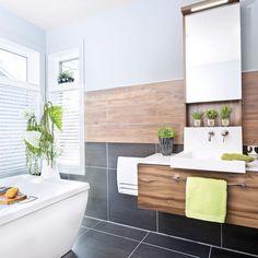 Chaleur masculine dans la salle de bain - Salle de bain - Avant après - Décoration et rénovation - Pratico Pratique