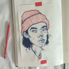 Portrait Drawing For some reason I felt like I needed to draw someone in a beanie, The Parent Trap was on TV. what a pleasant afternoon! Drawing Cartoon Characters, Character Drawing, Cartoon Drawings, Character Design, Kunst Inspo, Art Inspo, Portrait Sketches, Drawing Sketches, Drawing Ideas