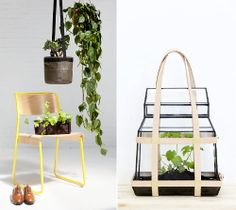 Winter Interior Decoration Trend 2012 - 2013 - Go Green! Modern Industrial Interior Design with Plants - Bacsac & Yellow Canteen Utility Design Chair by Klauser & Carpenter + Green House to Go by Studio Besau-Margueree