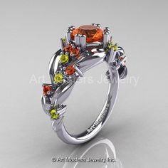 Nature Classic 14K White Gold 1.0 Ct Orange and by artmasters