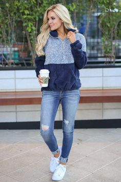 Meet Your Match Pullover - Navy 50 Best Spring Outfits Casual 2019 for Women - Fashion and Lifestyle Black Women Fashion, Look Fashion, Winter Fashion, Fashion Outfits, Womens Fashion, Fashion Trends, Feminine Fashion, Fashion Ideas, Ladies Fashion