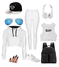 """""""Black and White"""" by sadie-bear ❤ liked on Polyvore featuring Topshop, Beats by Dr. Dre, NIKE, adidas Originals and Ray-Ban"""
