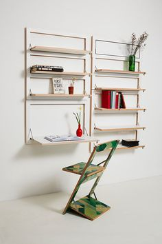 Flapps is a modular shelving system with endless storage applications since each shelf is collapsible.