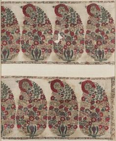 Pieces of shawl border (two). Indian (Kashmiri), 18th or early 19th century. Kashmir, India. Wool 2/2 twill tapestry - in the Museum of Fine Arts Boston.