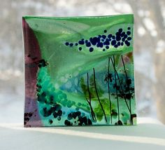 Fused Glass Art Plate    The Sea by GlassWorksLimited on Etsy, $21.00