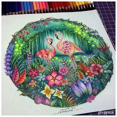 """102 Likes, 2 Comments - Rosana Penze (@rpenze) on Instagram: """"Meus Flaminguinhos do Selva Mágica Finalmente terminados @johannabasford - Editora Sextante -…"""""""