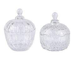 Set de 2 bomboneras en cristal Juliet - altura 14,5 cm