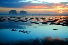 My favorite childhood vacation spot -- a view of the Twin Rocks at Rockaway Beach in Oregon.