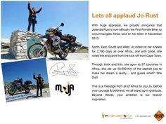 "#Phenomena  ""Jolandie Rust"" , She had a dream and she makes this dream come true   #phenomenaegypt #Egypt #travel #jo_rust #Africa #discover #motorcycling #bikes #female #rider #Moja #sports  https://www.facebook.com/photo.php?fbid=778332138855092&set=pb.510620342292941.-2207520000.1404034886.&type=1&theater"
