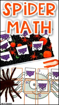 A fun spider themed math sensory bin to practice counting objects to 10 and number identification with your preschool and kindergartners. First Grade Phonics, Kindergarten Phonics, Kindergarten Lessons, Math Lessons, Hands On Activities, Math Activities, Toddler Activities, Sensory Bins, Sensory Play