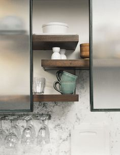 BARN GLASS DOOR CABINETS/OPEN SHELVING